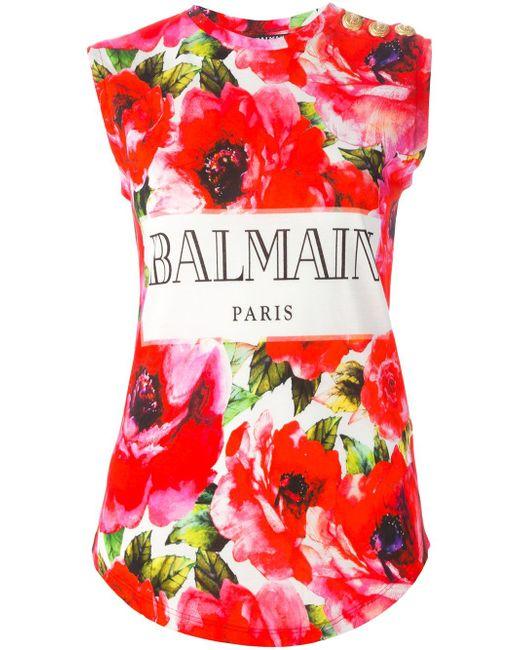 Майка С Цветочным Принтом Balmain                                                                                                              розовый цвет
