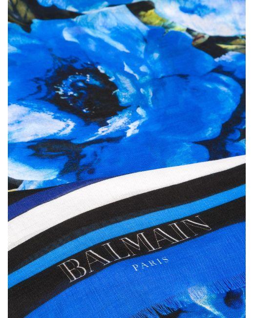Шарф С Цветочным Принтом Balmain                                                                                                              синий цвет