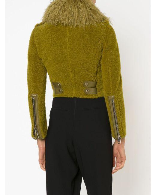 Байкерская Куртка Из Овчины Burberry Prorsum                                                                                                              зелёный цвет