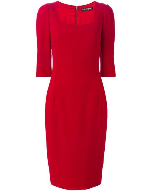 Платье С Квадратным Вырезом Dolce & Gabbana                                                                                                              красный цвет