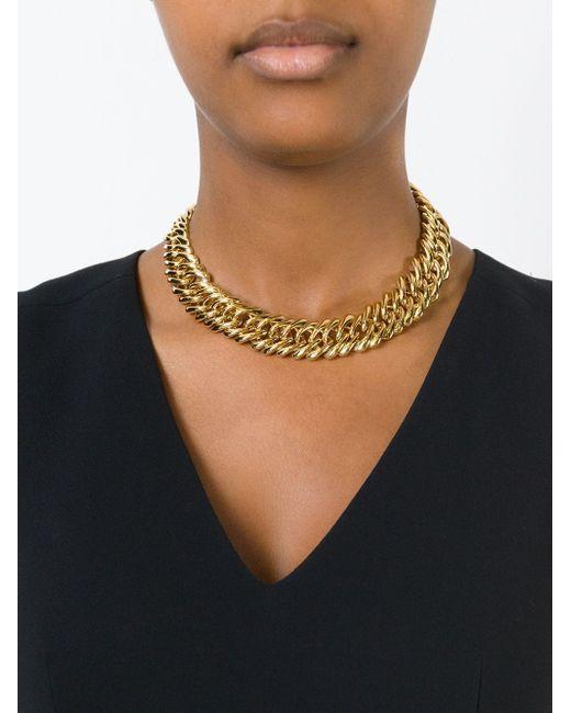 Массивный Цепочный Чокер Saint Laurent                                                                                                              серебристый цвет