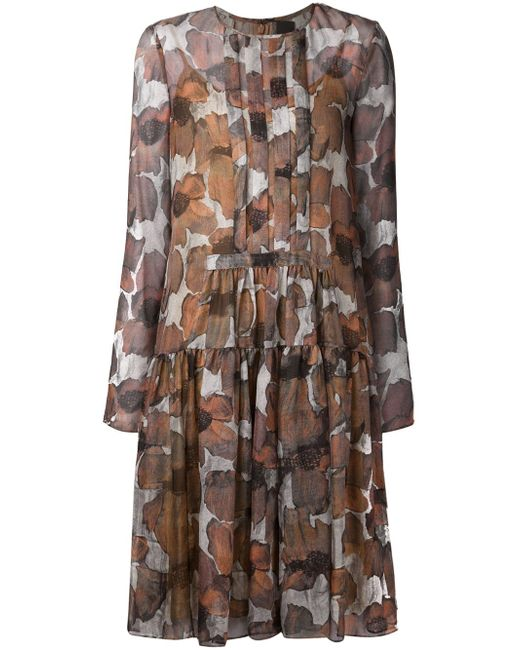 Poppy Print Gauze Dress Vera Wang                                                                                                              серый цвет