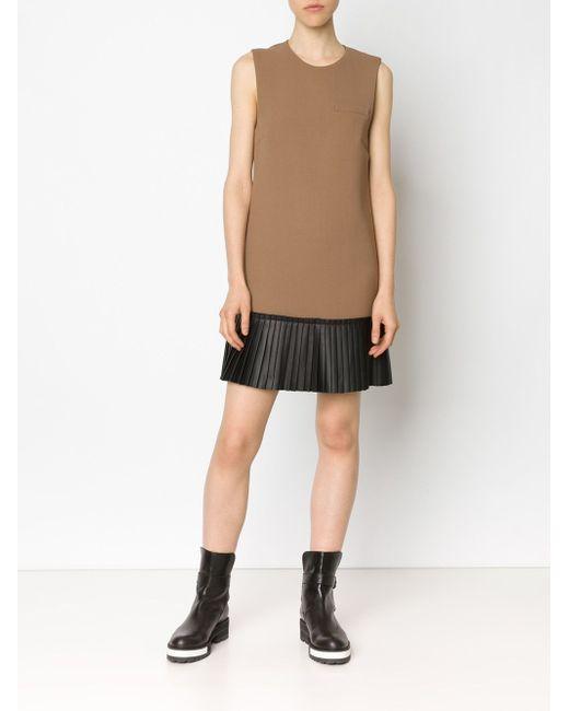 Pleated Hem Shift Dress Vera Wang                                                                                                              коричневый цвет