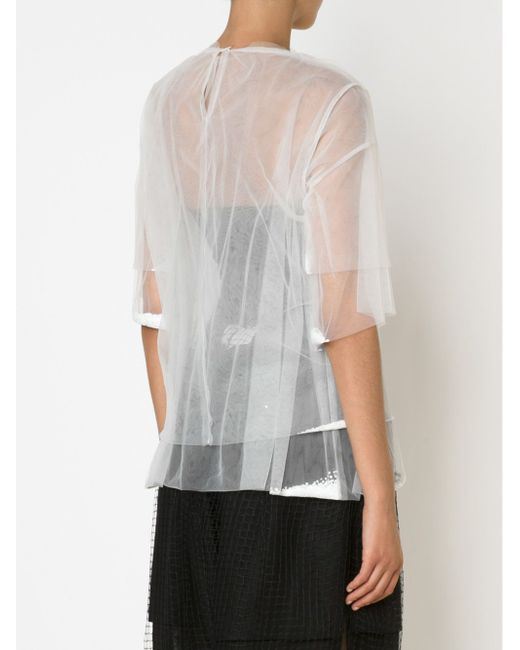 Double Layered Sheer Top PHOEBE ENGLISH                                                                                                              белый цвет
