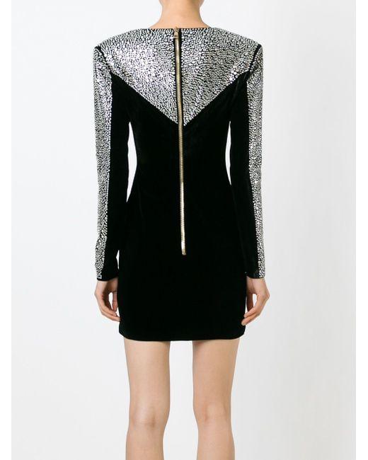 Декорированное Приталенное Платье Balmain                                                                                                              чёрный цвет