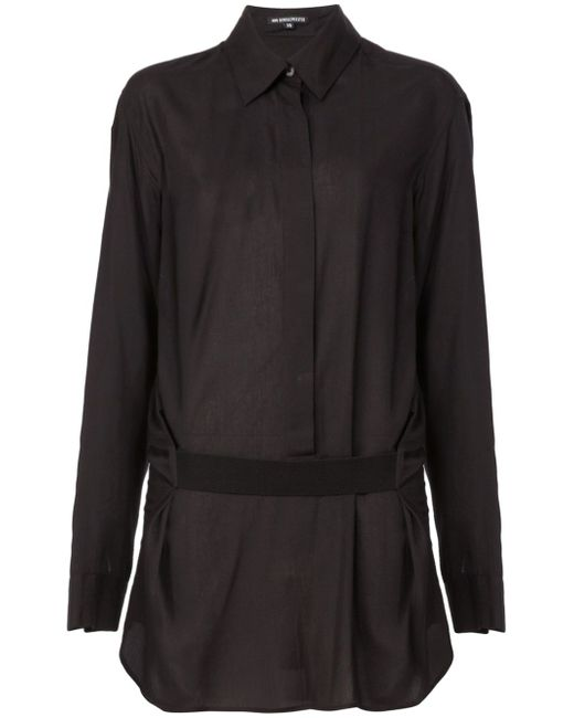 Драпированная Рубашка С Поясом Ann Demeulemeester                                                                                                              чёрный цвет