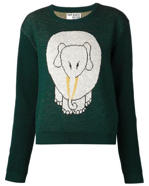 Свитер Со Слонов Интарсией INFANONYMOUS                                                                                                              зелёный цвет