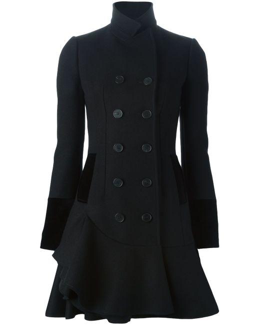 Двубортное Пальто С Волнистым Подолом Alexander McQueen                                                                                                              чёрный цвет