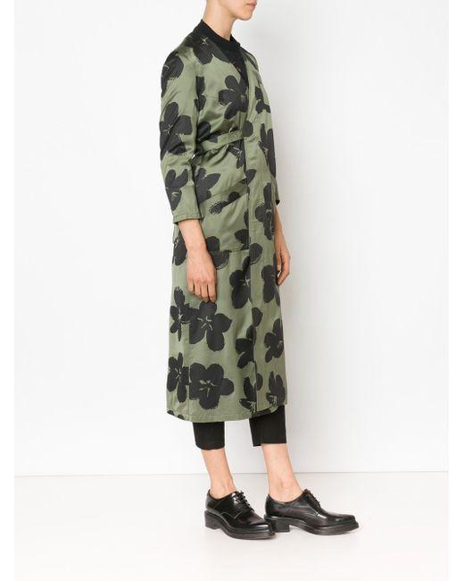 Длинное Пальто С Цветочным Принтом MIYAO                                                                                                              зелёный цвет