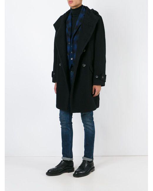 Двубортное Пальто С Капюшоном Barena                                                                                                              чёрный цвет