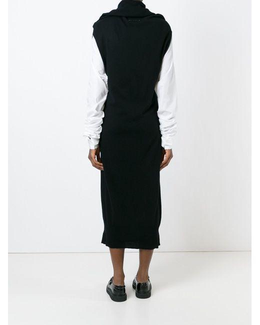 Draped Collar Tube Knit Dress MM6 by Maison Margiela                                                                                                              чёрный цвет