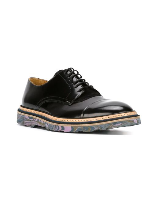 Туфли-Дерби С Мраморным Эффектом На Подошве Paul Smith                                                                                                              чёрный цвет