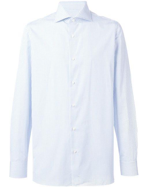 Рубашка В Клетку BORRELLI                                                                                                              синий цвет