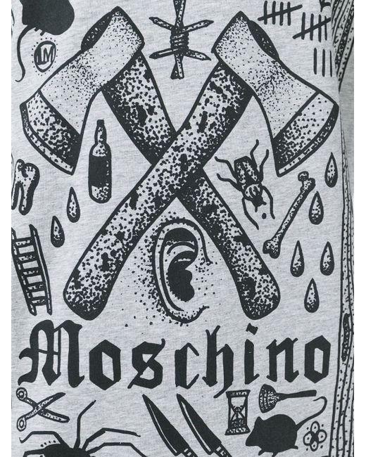Футболка С Принтом Логотипа Love Moschino                                                                                                              серый цвет