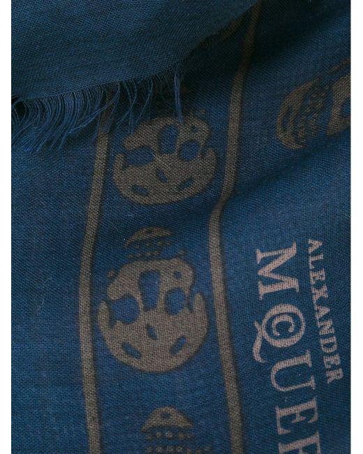 Шарф Skull Alexander McQueen                                                                                                              синий цвет