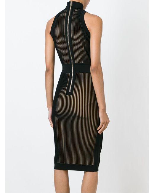 Приталенное Платье В Рубчик Balmain                                                                                                              чёрный цвет