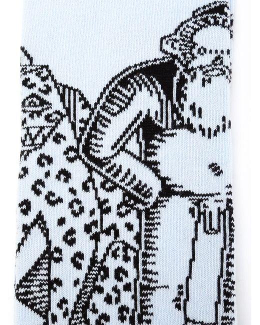 Носки В Технике Интарсия WALTER VAN BEIRENDONCK VINTAGE                                                                                                              синий цвет