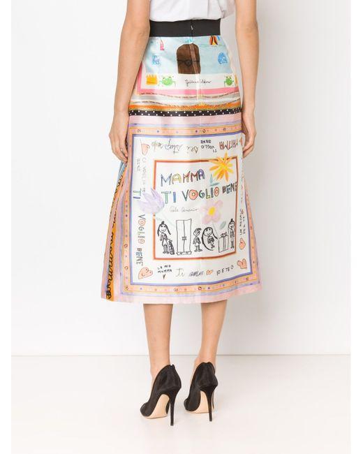 Childs Drawing Printed Skirt Dolce & Gabbana                                                                                                              белый цвет