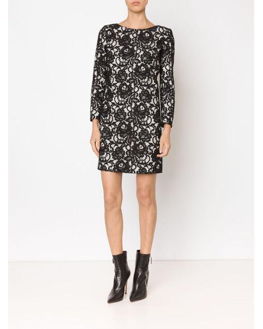 Платье Шифт С Цветочным Кружевом Saint Laurent                                                                                                              чёрный цвет