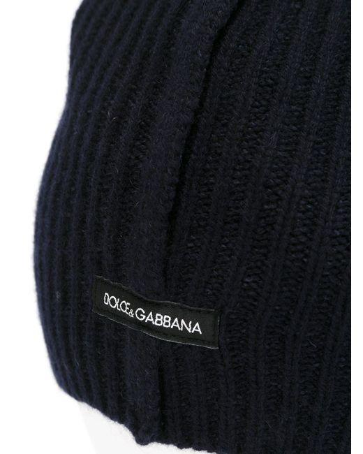 Шапка-Бини Ребристой Вязки Dolce & Gabbana                                                                                                              синий цвет