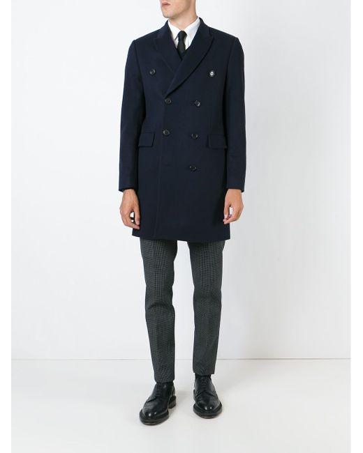 Двубортное Пальто Paul Smith                                                                                                              синий цвет