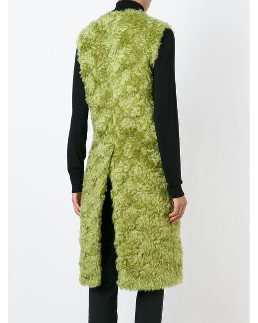 Удлиненный Меховой Жилет ERIKA CAVALLINI SEMICOUTURE                                                                                                              зелёный цвет