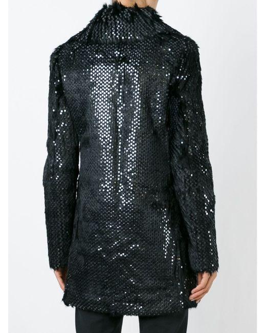 Меховое Пальто С Пайетками Saint Laurent                                                                                                              чёрный цвет