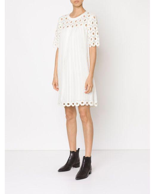 Связанное Крючком Платье-Шифт Sea                                                                                                              белый цвет
