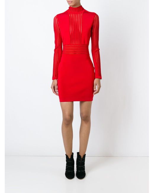 Облегающее Платье Balmain                                                                                                              красный цвет
