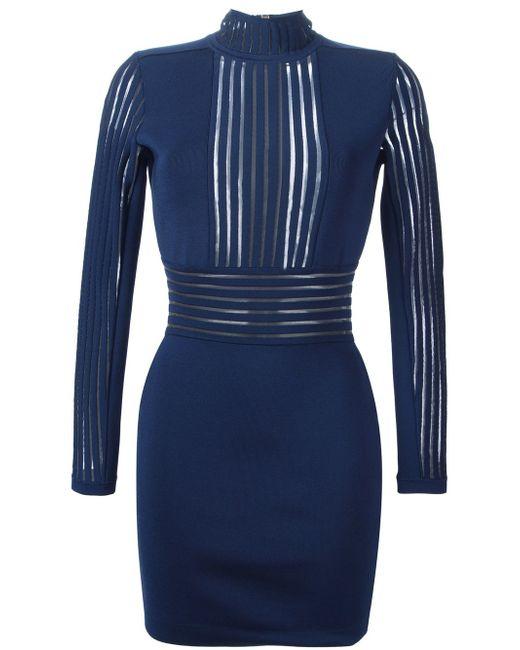 Облегающее Платье Balmain                                                                                                              синий цвет