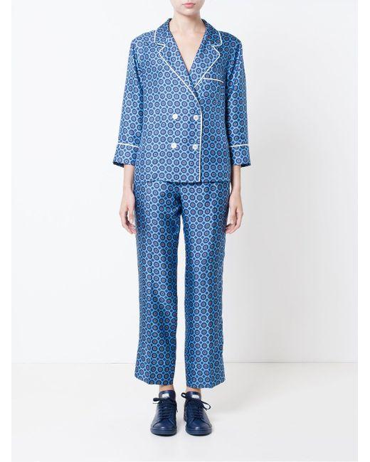 Medallion Print Silk Pyjama Trousers FOR RESTLESS SLEEPERS                                                                                                              синий цвет