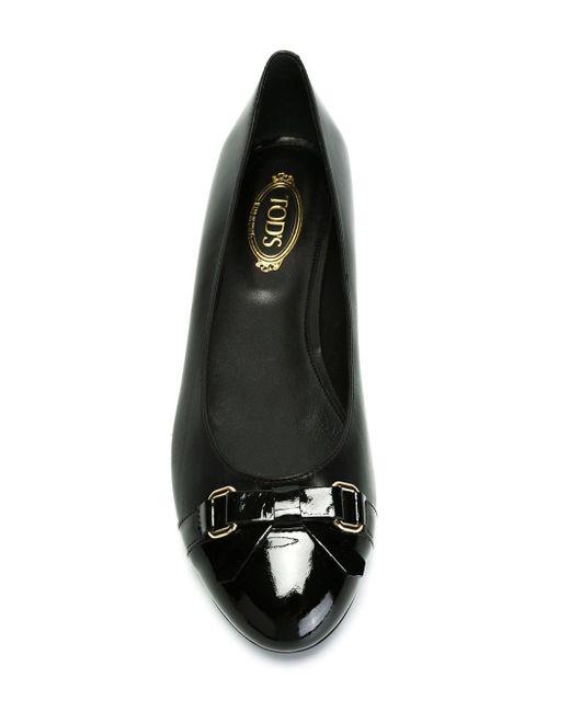 Балетки С Контрастными Носками С Покрытием Tod'S                                                                                                              чёрный цвет