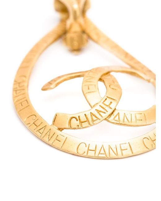 Teardrop Logo Clip-On Earrings Chanel Vintage                                                                                                              желтый цвет