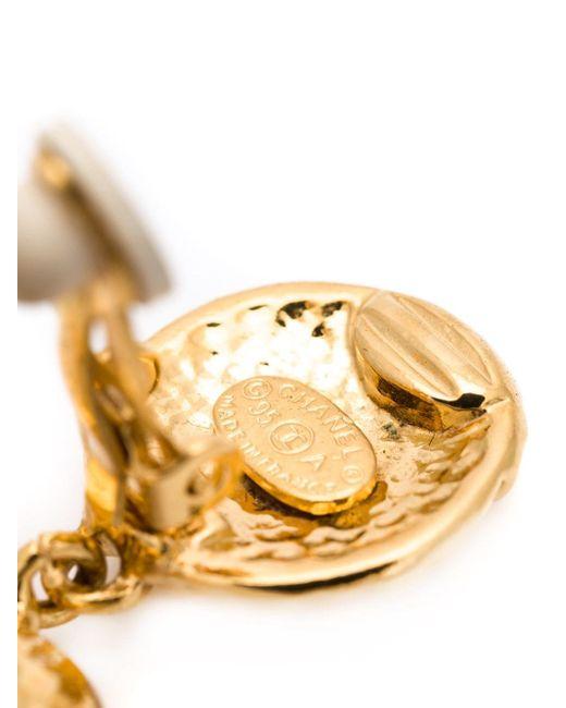 Logo Clip-On Earrings Chanel Vintage                                                                                                              желтый цвет