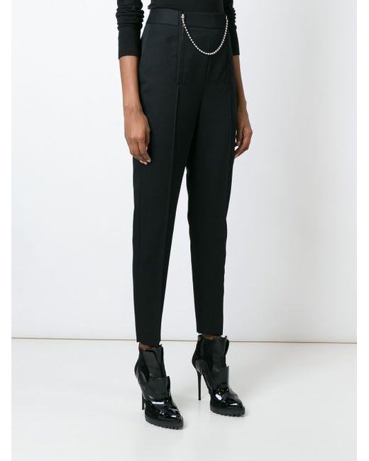 Chain Detailed Cropped Trousers Alexander Wang                                                                                                              чёрный цвет