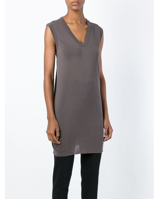 Платье C V-Образным Вырезом Rick Owens                                                                                                              серый цвет
