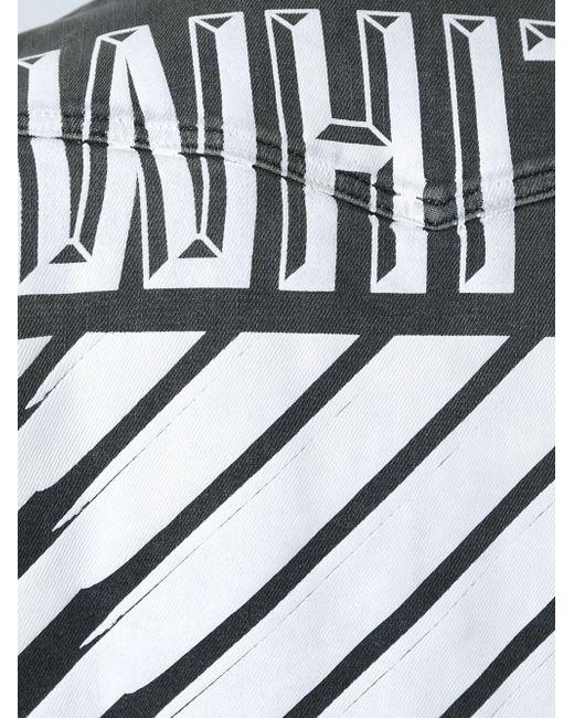 Джинсовая Рубашка С Потертым Эффектом OFF-WHITE                                                                                                              серый цвет