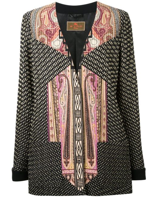 Mixed Print V-Neck Jacket Etro                                                                                                              многоцветный цвет