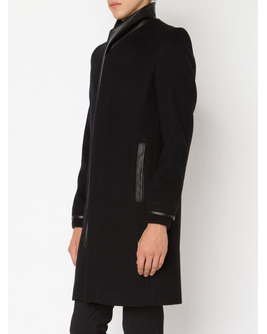 Пальто С Кожаной Отделкой TIM COPPENS                                                                                                              чёрный цвет