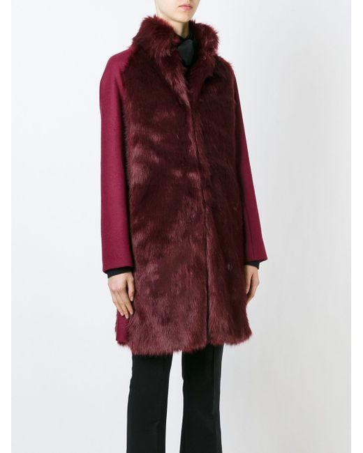 Меховое Пальто Свободного Кроя GIAMBA                                                                                                              красный цвет