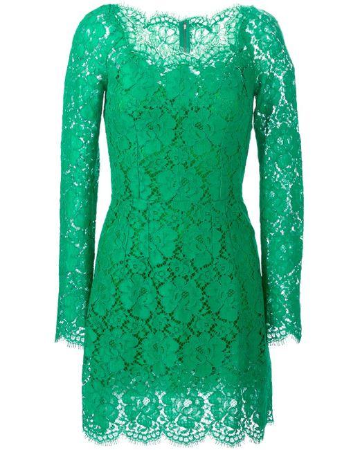 Платье Из Цветочного Кружева Dolce & Gabbana                                                                                                              зелёный цвет