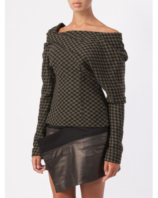 Checkboard Draped Sweater Haider Ackermann                                                                                                              чёрный цвет