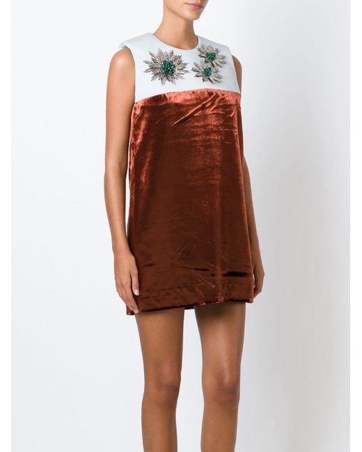Декорированное Платье С Панельным Дизайном Delpozo                                                                                                              синий цвет