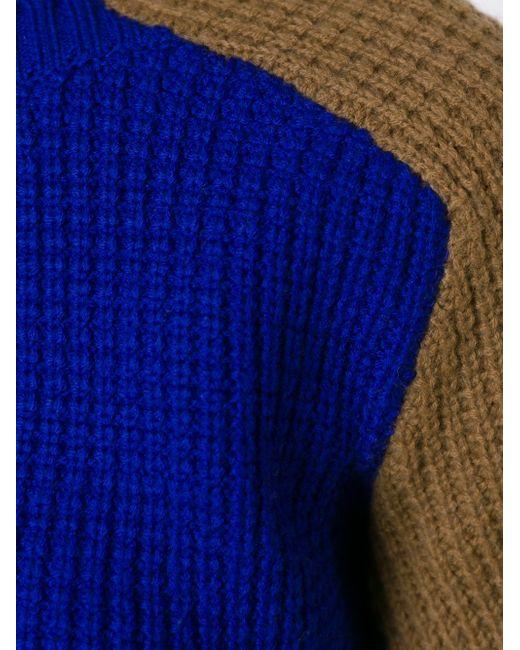 Свитер С Контрастными Рукавами Sacai Luck                                                                                                              синий цвет
