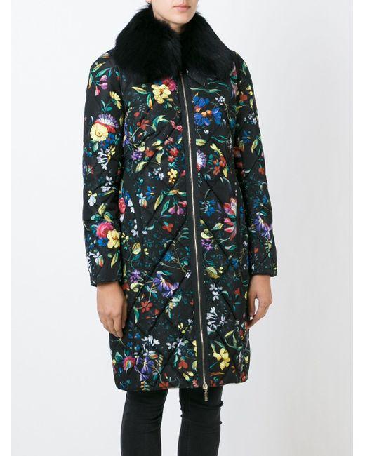 Дутое Пальто С Цветочным Принтом MONCLER X ERDEM                                                                                                              чёрный цвет