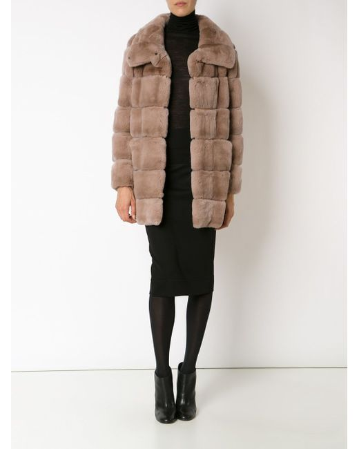 Panelled High Collar Coat Yves Salomon                                                                                                              Nude & Neutrals цвет