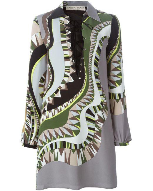Платье С Абстрактным Принтом И Шнуровкой Спереди Emilio Pucci                                                                                                              зелёный цвет