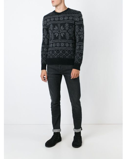 Fair Isle Sweater Moncler                                                                                                              чёрный цвет
