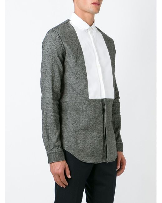 Рубашка С Контрастным Нагрудником Dsquared2                                                                                                              серый цвет