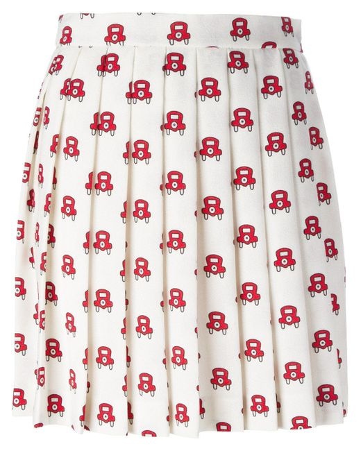 Car Print Pleated Skirt Au Jour Le Jour                                                                                                              белый цвет